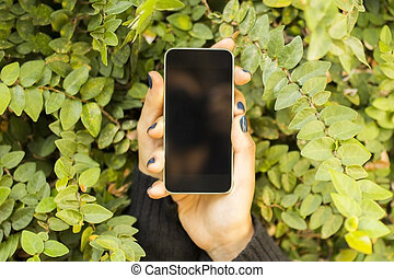 mobilfunk, laub, leer