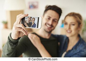 mobilfunk, paar, sich, fotografieren