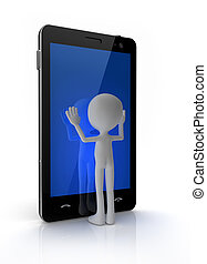 mobilfunk, touchscreen, berühren, mann