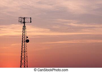mobilfunkmast, silhouette, orange-pink