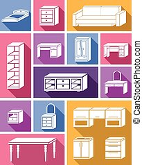 mobilia, appartamento, icone