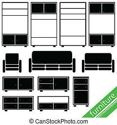 mobilia, in, nero, per, casa