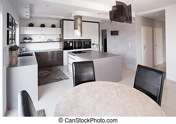 mobilia, moderno, disegnato, cucina