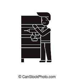 mobilia, montaggio, nero, vettore, concetto, icon., mobilia, montaggio, appartamento, illustrazione, segno