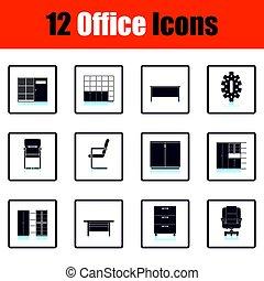 mobilia, set, ufficio, icona