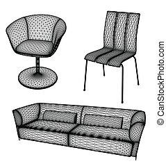 mobilia, set, vettore, illustrazione, per, disegno