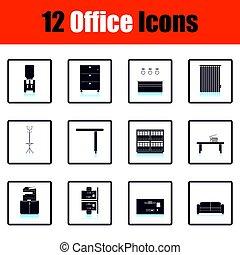 mobilia ufficio, icona, set