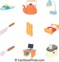 mobiliario, hogar, conjunto, estilo, caricatura, iconos