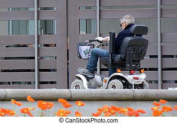 mobilidade, conduzir, idoso, scoote, homem
