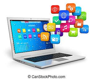 mobilitás, fogalom, számítógép, felhő, kiszámít