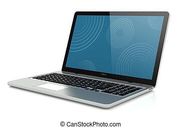 mobilitás, modern, laptop., ezüst
