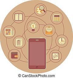 mobilité, concept, business, brun