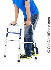 mobilité, fin, homme, aides, haut, jeune