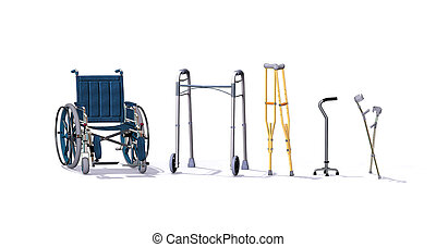 A collection of mobility aids including a wheelchair, walker, crutches, quad cane, and forearm crutches - 3d render.