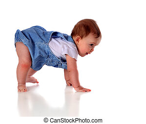 """An adorable baby girl """"walking"""" on hands and feet. Isolated on white."""