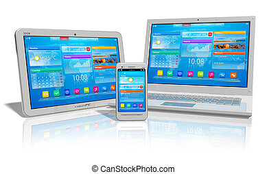 White tablet PC, smartphone and laptop isolated on white reflective background *** I confirm that design of these tablet PC, smartphone and laptop and their interface and photo used here are MY OWN, and all text labels are fully abstract.