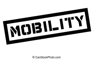 Mobility typographic stamp. Black and red stamp series.