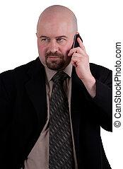 mobiltelefon, 2, talande, affärsman