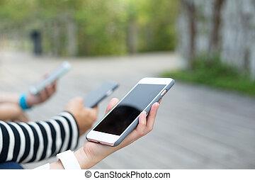 mobiltelefon, användande, grupp, folk