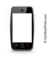 mobiltelefon, avskärma, tom