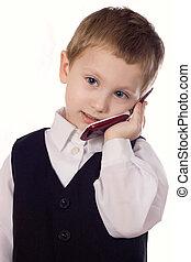 mobiltelefon, baby, förtjusande, passa, pojke