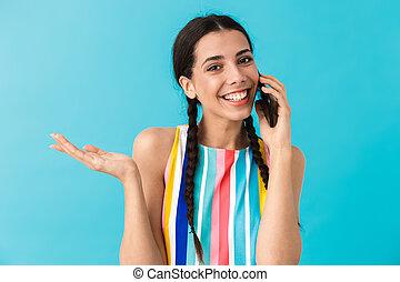 mobiltelefon, copyspace, vacker, talande, holdingen, kvinna, avbild, le