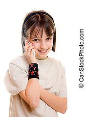 mobiltelefon, flicka, 2
