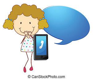 mobiltelefon, flicka