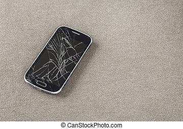 mobiltelefon, gammal, utrymme, lätt, concept., tyg, svart, bakgrund., underhåll, grej, knäckt, avskrift, reparera, avskärma