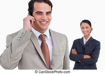 mobiltelefon, hans, kollega, representant, bak, honom