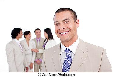 mobiltelefon, hans, stående, se, affärsman, påstridig