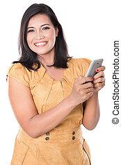 mobiltelefon, henne, text, ansikte, asiat, nätt, kvinna, lycklig