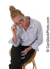 mobiltelefon, kvinna, 6918