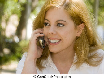 mobiltelefon, kvinna
