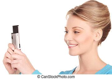 mobiltelefon, kvinna, lycklig