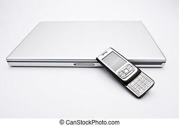 mobiltelefon, laptopdator