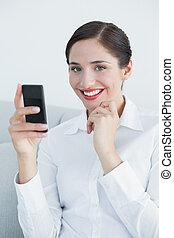 mobiltelefon, le womanen, ung, soffa