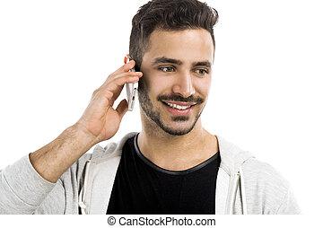 mobiltelefon, man, ung, talande