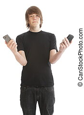 mobiltelefon, manliga unga, tonåring