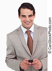 mobiltelefon, nära, hans, representant, holdingen, le, uppe