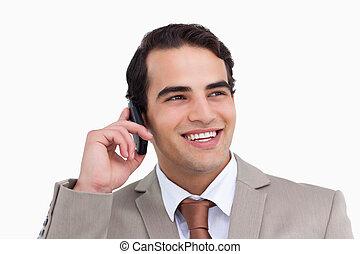 mobiltelefon, nära, hans, representant, le, uppe