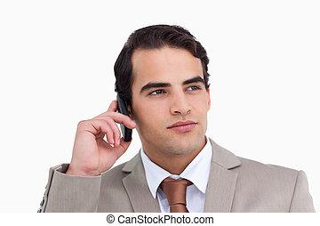 mobiltelefon, nära, hans, representant, uppe, allvarlig