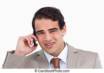 mobiltelefon, nära, hans, representant, uppe, förargat, ung