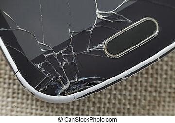 mobiltelefon, närbild, gammal, reparera, lätt, avskärma, specificera, tyg, svart, bakgrund., underhåll, grej, knäckt, concept.