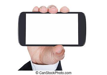 mobiltelefon, närbild, räcka lämna