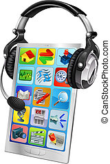 mobiltelefon, pratstund, stöd, begrepp