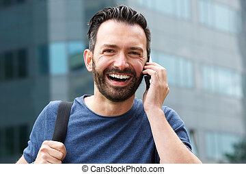 mobiltelefon, skratta, mogna, användande, man, stilig