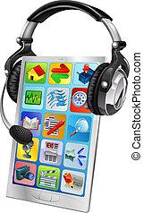 mobiltelefon, stöd, begrepp, pratstund