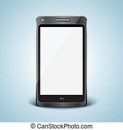 mobiltelefon, vit, nymodig, screen.