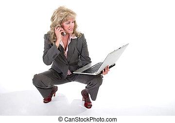 mobiltelefon, womanaffär, laptop, 2, jonglera